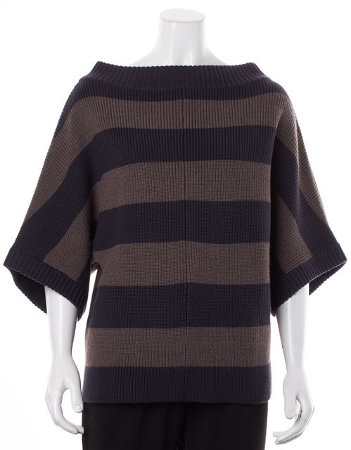 TORY BURCH Navy Blue Brown Striped Wool Oversized Boat Neck Sweater