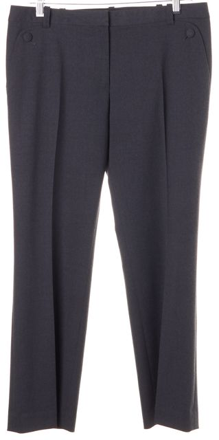 TORY BURCH Gray Wool Cropped Pleated Trouser Dress Pants