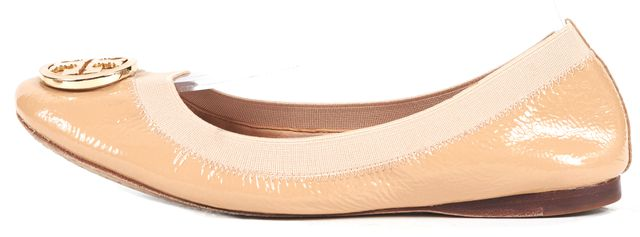 TORY BURCH Nude Patent Leather Medallion Ballet Flats