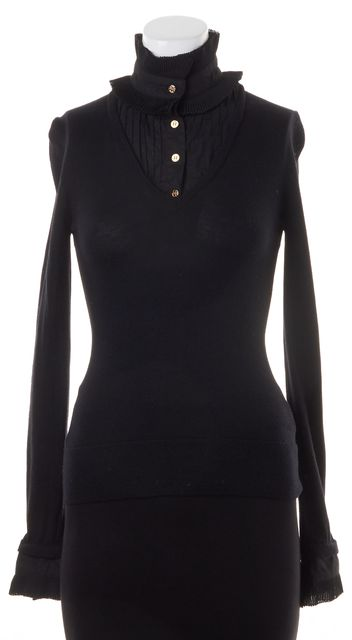 TORY BURCH Black Solid Ruffle Collar Wool Knit Sweater