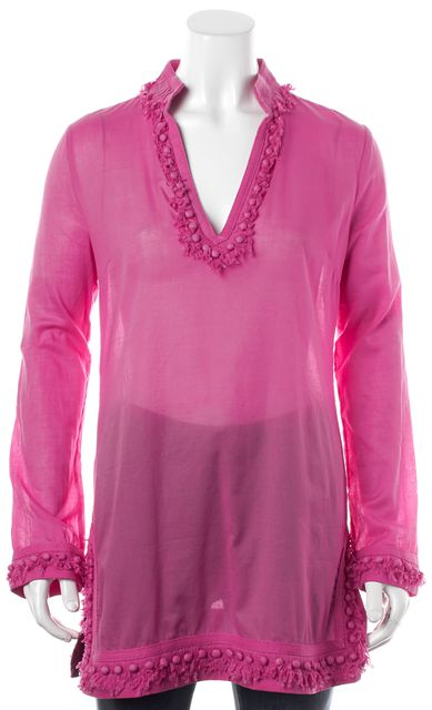 TORY BURCH Hot Pink Sheer Button Embellished Fringe Tunic Top