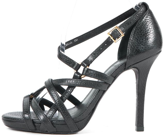 TORY BURCH Black Pebbled Leather Strappy Sandal Heels