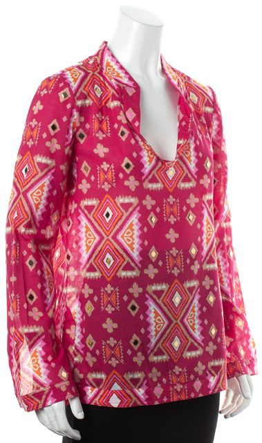 TORY BURCH Magenta Pink Orange Sheer Abstract Diamond Embellished Tunic