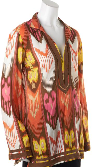 TORY BURCH Pink Brown Orange Abstract Cotton Long Sleeve Tunic Top