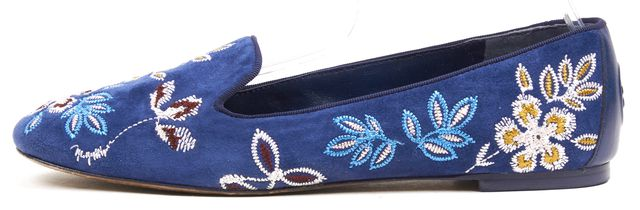 TORY BURCH Navy Pink Suede Floral Embroidered Smoking Slipper