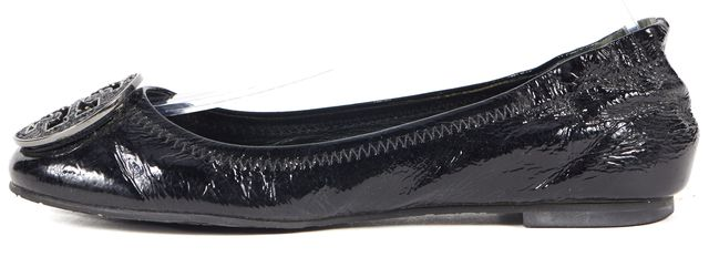 TORY BURCH Black Patent Leather Glitter Logo Ballet Flats
