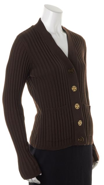 TORY BURCH Brown Cotton Button Front Ribbed Knit Cardigan