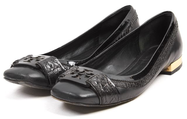 TORY BURCH Black Logo Leather Gold-Tone Trim Ballet Flats