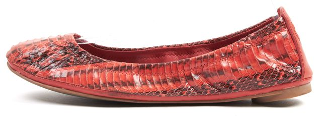 TORY BURCH Red Black Snakeskin Embossed Leather Eddie Ballet Flats
