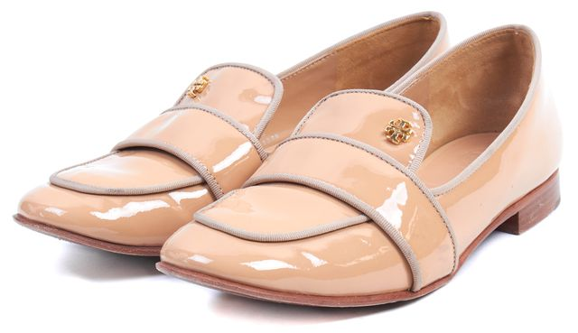 TORY BURCH Beige Nude Patent Leather Evette Loafers