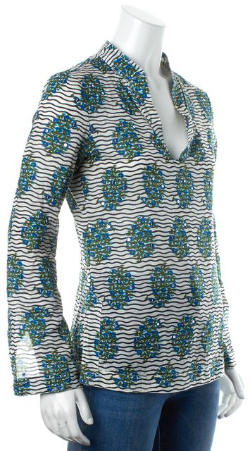 TORY BURCH Blue White Striped Sequin Floral Print Cotton Blouse