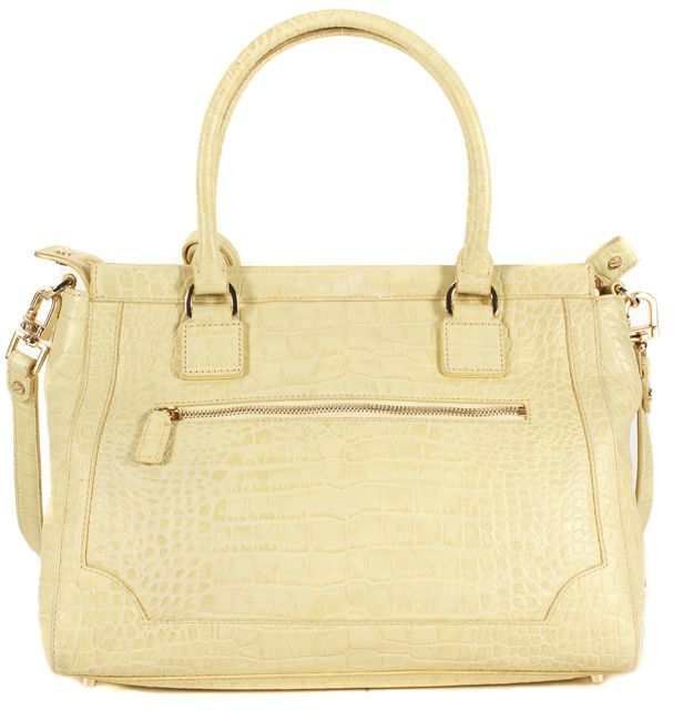 TORY BURCH Yellow Crocodile Embossed Leather Gold Hardware Large Satchel