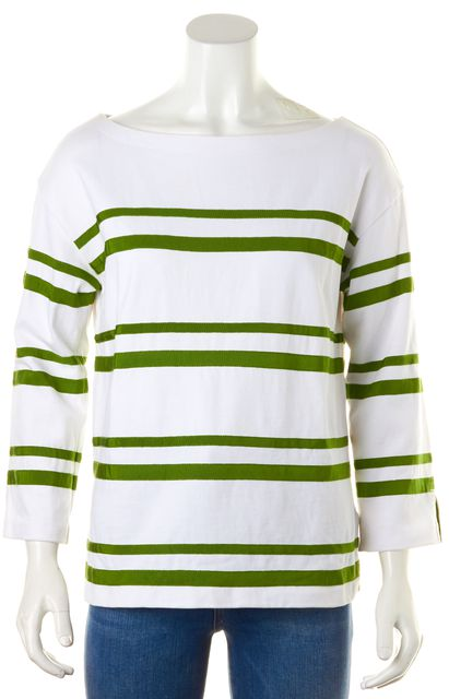 TORY BURCH White Green Cotton Grosgrain Striped Boat Neck Tee Top