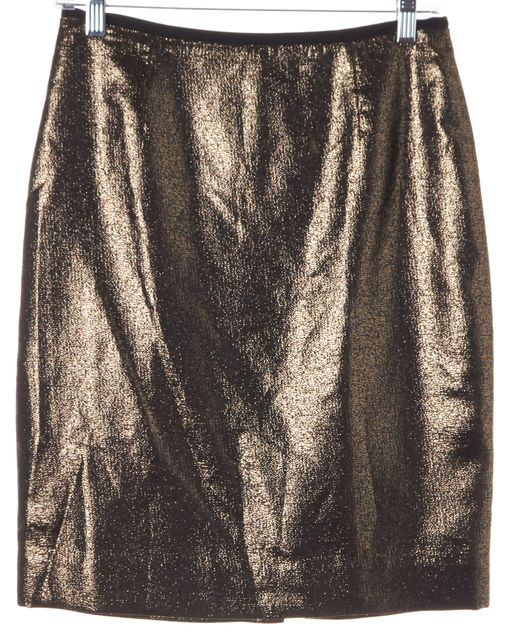 TORY BURCH Metallic Gold Black Back-Slit Pencil Skirt