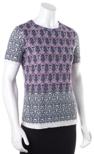 TORY BURCH White Multi-color Abstract Brocade Print Graphic T-Shirt