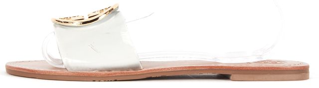 TORY BURCH White Patent Leather Gold Double T Medallion Slide Sandals