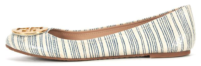 TORY BURCH Ivory Blue Striped Snake Embossed Leather Reva Flats