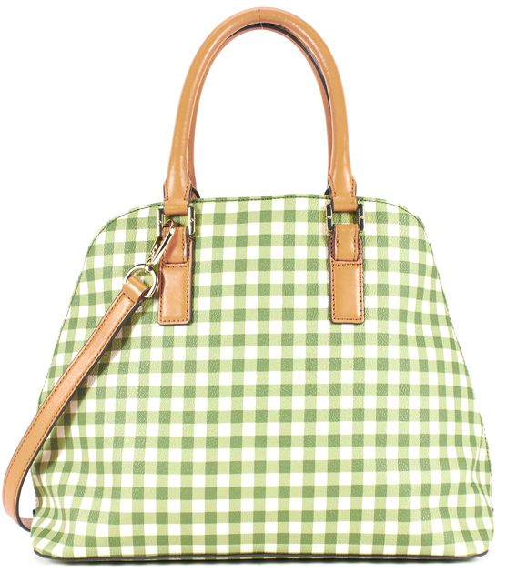 TORY BURCH Green White Gingham Coated Canvas Kerrington Dome Satchel