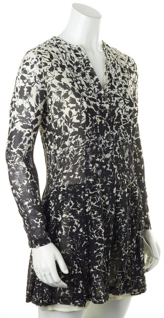 TORY BURCH Black Ivory Floral Silk Long Sleeve Mini Blouson Dress