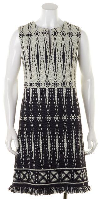 TORY BURCH Black White Tweed Fringe Trim Savora Sheath Dress