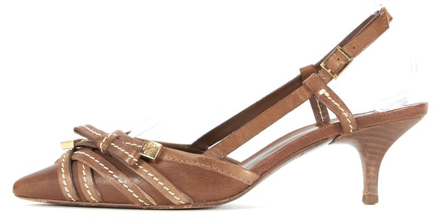 TORY BURCH Brown Gold Embellished Leather Slingback Kitten Heels