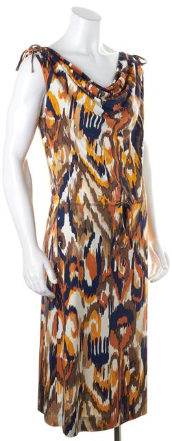 TORY BURCH Orange Multi-Colored Abstract Print Silk Drawstring Dress