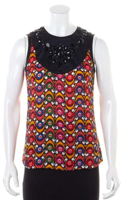 TORY BURCH Multi-Color Silk Abstract Embellished Top