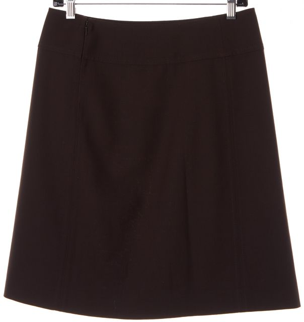 TORY BURCH Dark Brown Wool Medallion Leather Trim A-Line Skirt