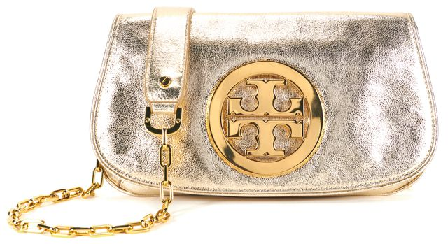 TORY BURCH Metallic Gold Leather Reva Chainstrap Crossbody Clutch