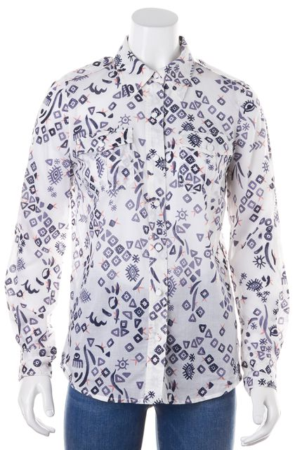 TORY BURCH White Pink Navy Abstract Western Print Button Down Shirt