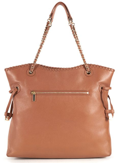 TORY BURCH Camel Brown Pebbled Leather Marion Slouchy Tote Bag