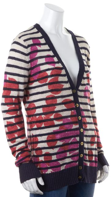 TORY BURCH Beige Navy Blue Red Floral Striped Linen Cardigan