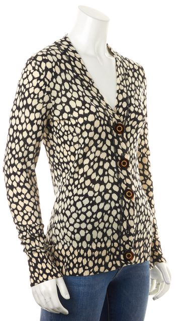 TORY BURCH Black Ivory Abstract Wool Knit Button Up Cardigan