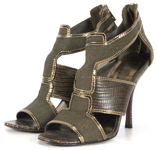 TORY BURCH Green Metallic Canvas Snake Embossed Leather Trim Sandal Heels