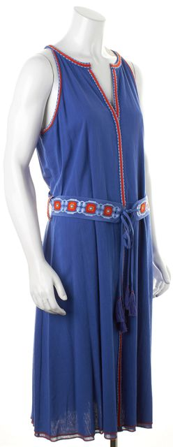 TORY BURCH Blue Red Embroidered Belted Sleeveless Midi Sheath