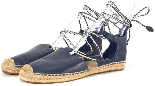 TORY BURCH Blue Leather Positano Lace-Up Espadrille Flats