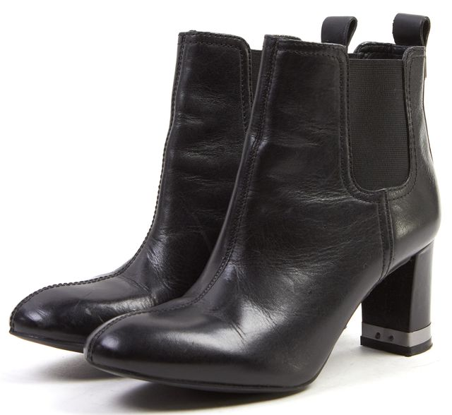 TORY BURCH Solid Black Leather Stretch Ankle Boots