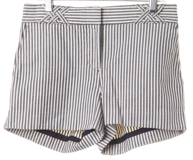 TORY BURCH White Navy Striped Casual Summer Shorts
