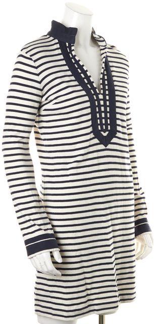 TORY BURCH White Navy Blue Striped Cotton V-Neck Tunic Dress