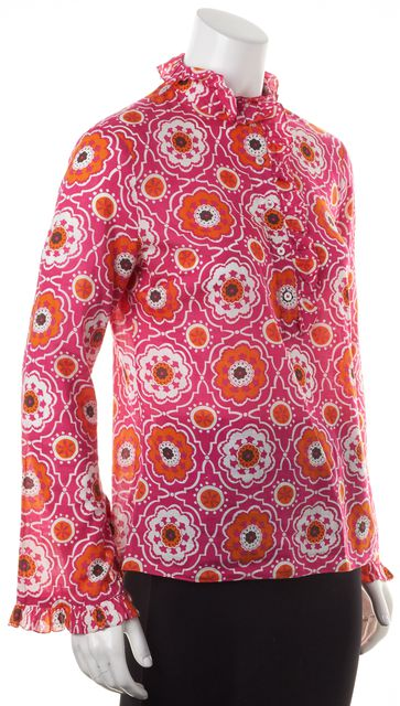 TORY BURCH Pink Orange White Floral Printed Cotton Ruffle Trim Blouse