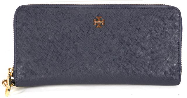 TORY BURCH Navy Blue Saffiano Leather York Zip Continental Wristlet Wallet