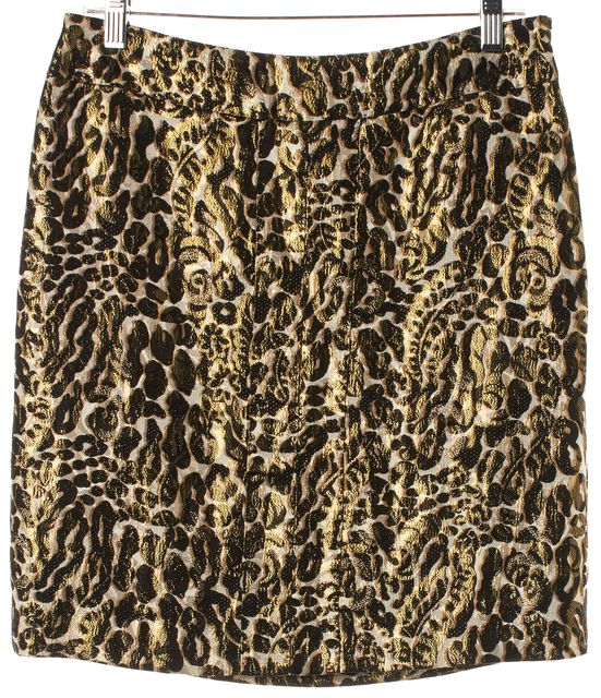 TORY BURCH Beige Gold Metallic Leopard Print Silk Straight Skirt