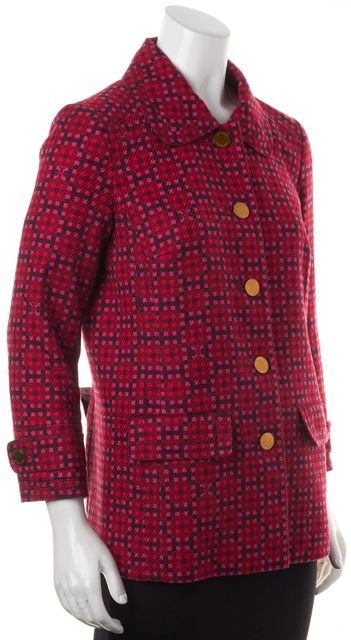 TORY BURCH Red Pink Maroon Geometric Tweed Button Down Jacket