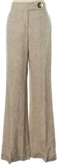 TORY BURCH Beige Linen Wide Flared Leg Trousers Pants