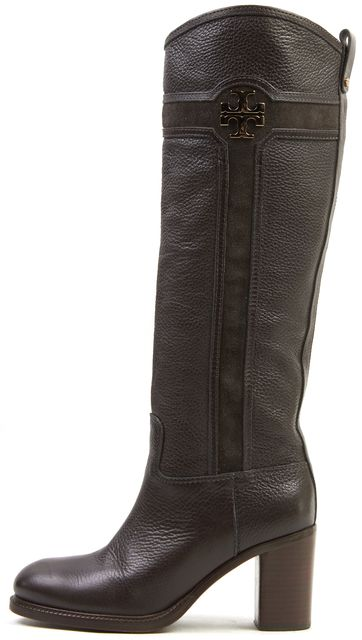 TORY BURCH Brown Leather Suede Combo Medallion Knee-High Boots