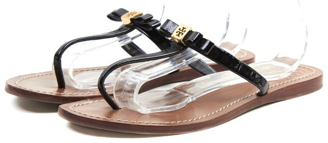 TORY BURCH Brown Black Patent Leather Ribbon Medallion Sandals