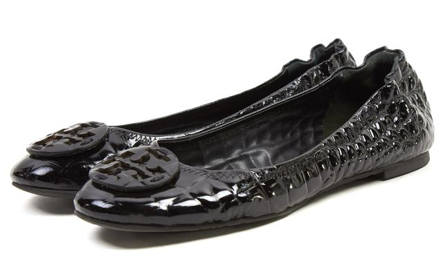 TORY BURCH Black Embossed Vernice Patent Leather Reva Flats