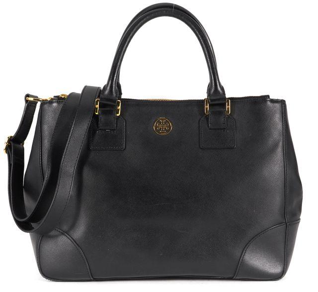 TORY BURCH Black Saffiano Leather Tote Top Handle Satchel Bag
