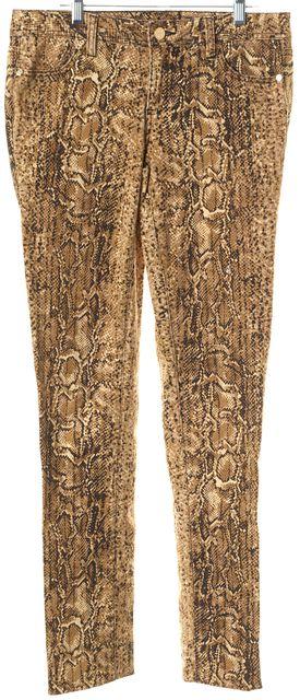 TORY BURCH Brown Beige Python Print Super Skinny Jeans