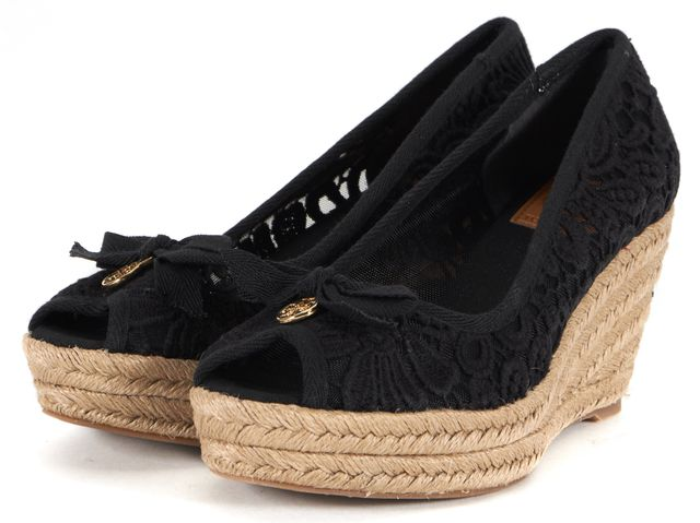 TORY BURCH Black Floral Crochet Jackie Espadrille Wedges
